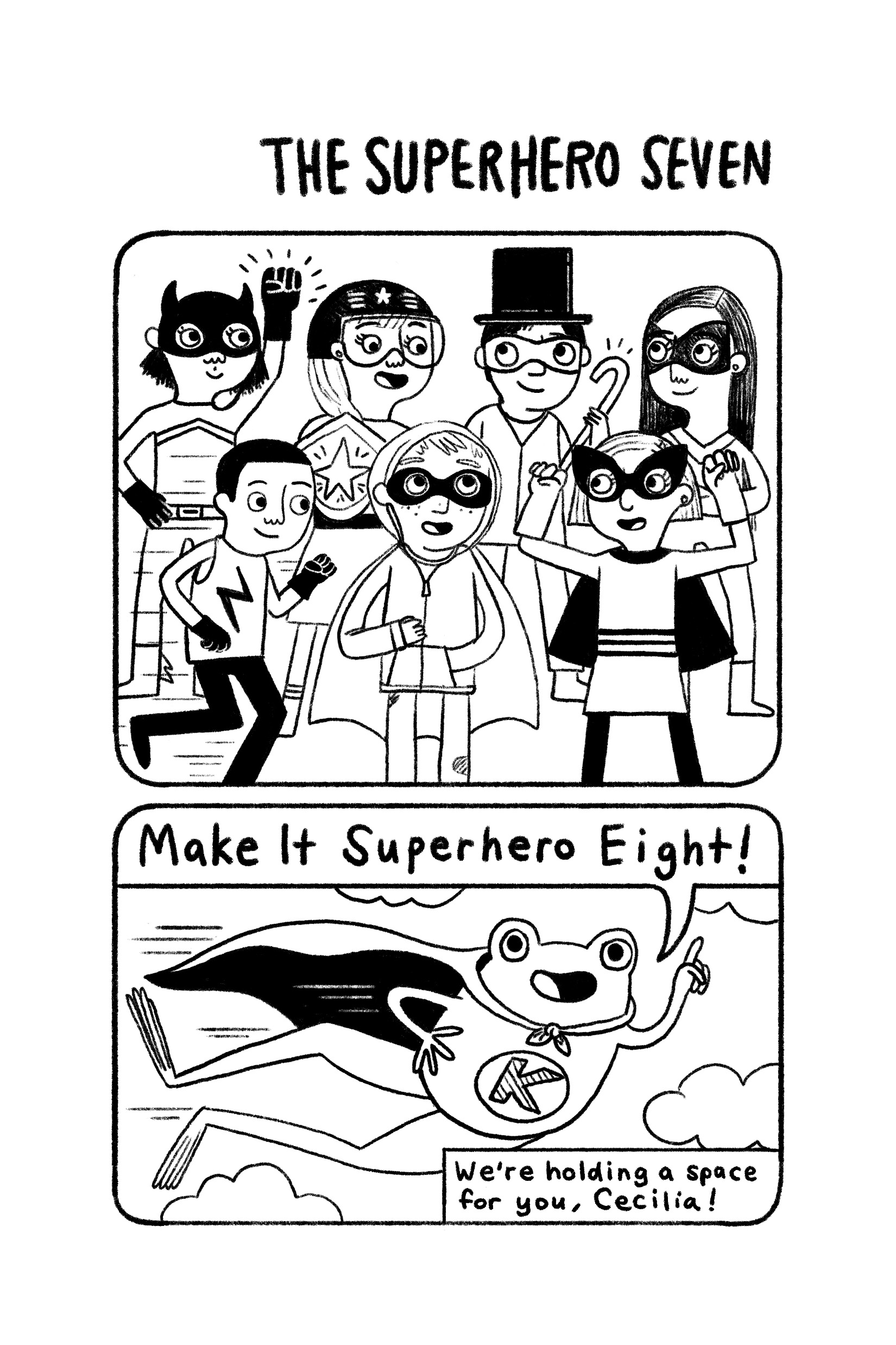 Superheros-- Gina Perry's illustration from Operation Frog Effect