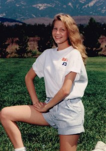 Sarah in dance team photo (approximately age 16)